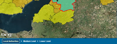 Screenshot of the Local Authorities level - Local Authority boundaries